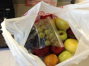 Last fruit box of the season: muscadines, scuppernongs, pears, and apples.