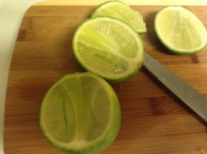 Cutting limes to get to the juice!